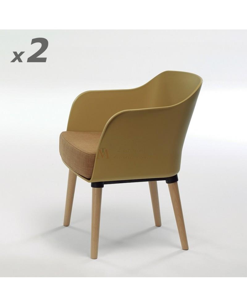 fauteuil moderne de style scandinave maria dossier rsine moutarde coussin tissu - Fauteuil Scandinave Moutarde
