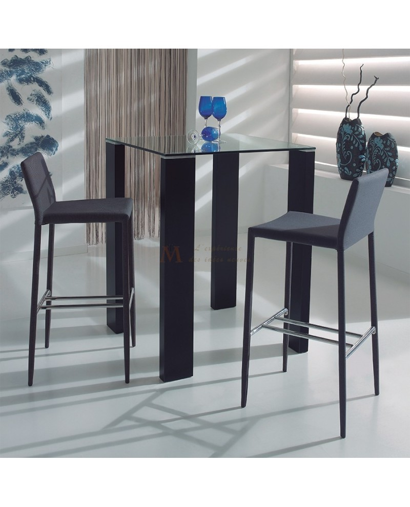 ensemble table haute mange debout plateau verre 4 tabourets. Black Bedroom Furniture Sets. Home Design Ideas