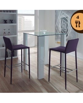 Ensemble table haute blanche et 4 tabourets de bar violets LILAS