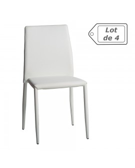 Lot de 4 chaises contemporaines de salle à manger assise cuir blanc ERA