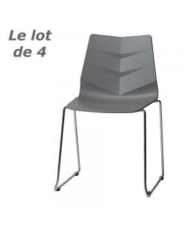 Lot de 4 chaises design de salle à manger ou de cuisine  assise résine grise SOPHIA