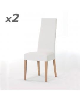 Lot de 2 chaises contemporaines de salle à manger cuir blanc et hêtre CORA