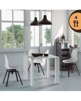 Ensemble table carrée 80 cm blanche et 4 chaises pivotantes blanches LILAS2