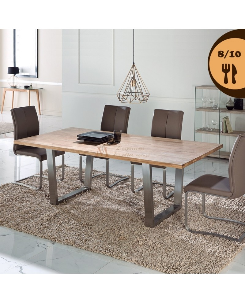 Table Repas 200 Cm Style Industriel Chene Massif Pieds Metal