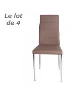 Lot de 4 chaises modernes de salle à manger assise et dossier cuir cappuccino ALOHA