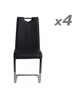 Lot de 4 chaises repas modernes assise et dossier cuir noir structure métal ENOLA