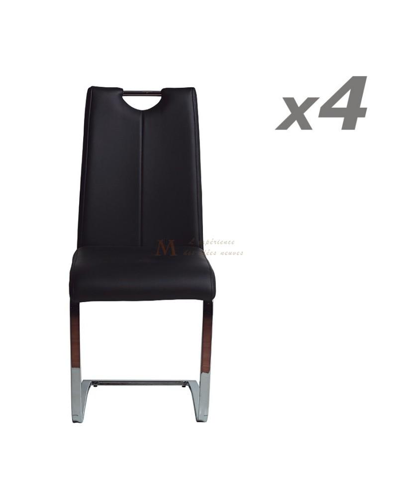 Lot De 4 Chaises Repas Simili Cuir Structure Et Pied Metal