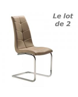 Lot de 2 chaises repas grand confort assise cuir taupe molletonné pied métal JOAN