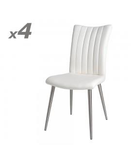 Lot de 4 chaises repas assise et dossier matelassé cuir reconstitué blanc THALLIA