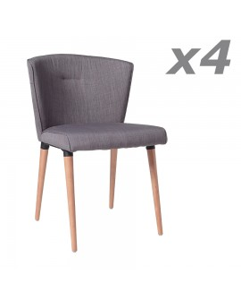 Lot de 4 chaises vintage HELEN tissu gris 4 pieds hêtre
