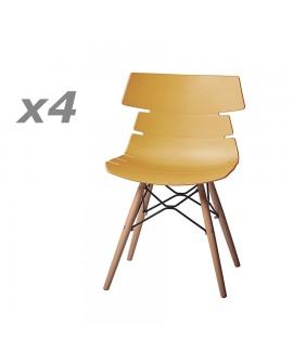 Lot de 4 chaises design assise résine moutarde pied hêtre massif vernis et métal DREAM