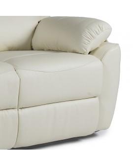 Détail du mécanisme et du repose pieds pour le canapé relaxation 2 places TANGER couleur crème
