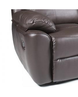 Détail du mécanisme et du repose pieds pour le canapé relaxation 2 places TANGER couleur chocolat