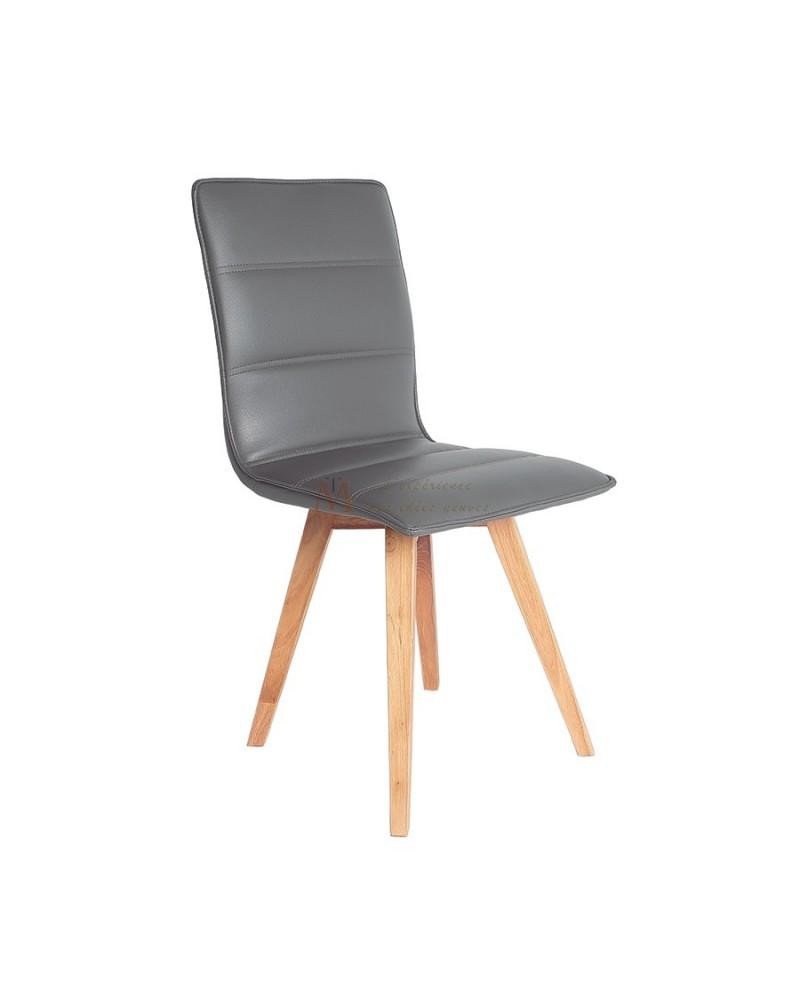 Confort lot de 2 chaises repas cuir matelass pied bois for Chaise cuir pied bois