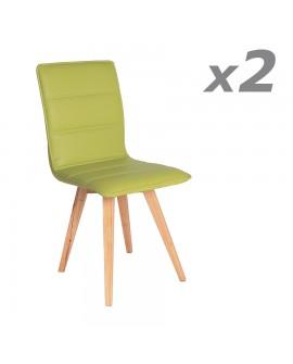 Lot de 2 chaises de salle à manger confort assise cuir pistache pied hévéa NOA