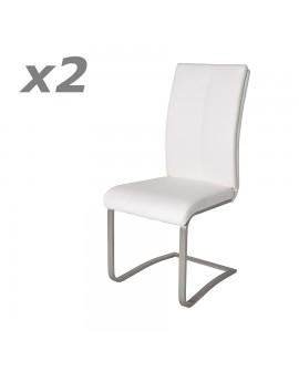 Lot de 2 chaises de salle à manger confort cuir blanc pied luge inox JADE