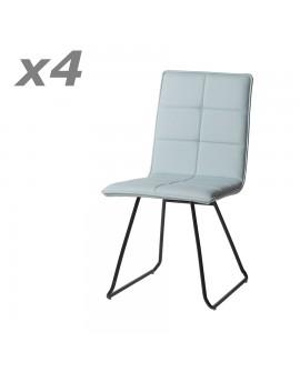 Lot de 4 chaises design de salle à manger confort assise cuir bleu ciel pieds métal