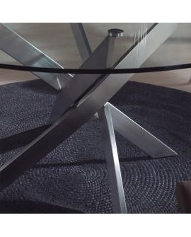table repas ronde 120 140 cm pied acier plateau verre. Black Bedroom Furniture Sets. Home Design Ideas