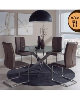 Table de salle à manger RIGA plateau verre pied design métal inoxydable