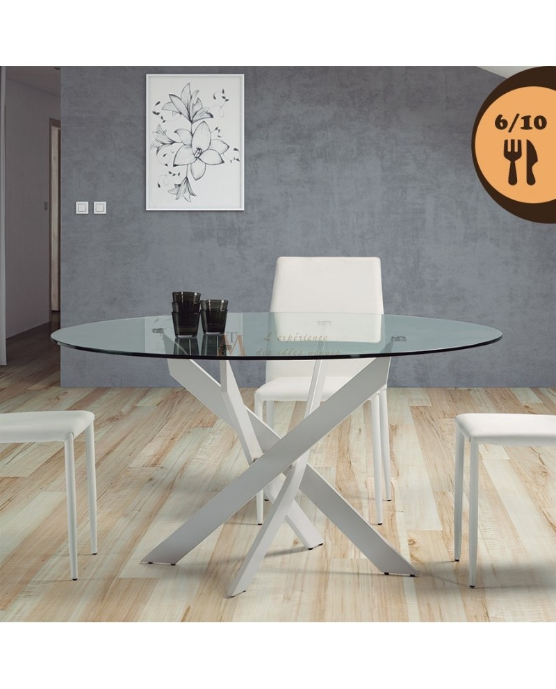 Table repas ronde 120 140 cm plateau verre pied m tal laqu for Table ronde verre design