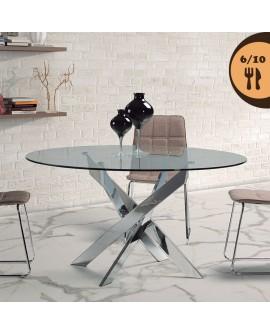 Table de salle à manger RIGA2 plateau verre pied design métal chromé