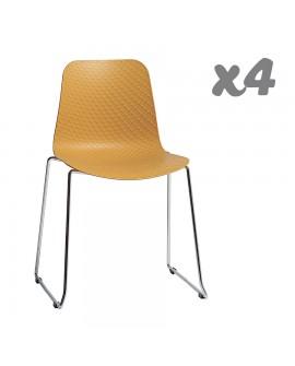 Lot de 4 chaises design assise résine moutarde pied métal chromé KORA