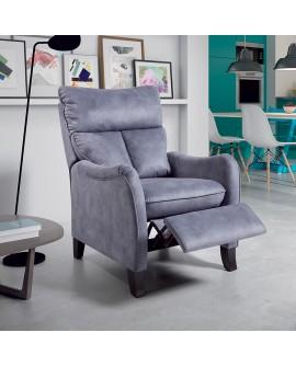 Fauteuil relaxation facile d'utilisation et confortable couleur grise CAIMAN