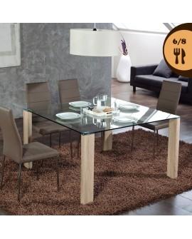 Pas cher table carr e 130 cm plateau verre pieds ch ne for Table carree 8 couverts