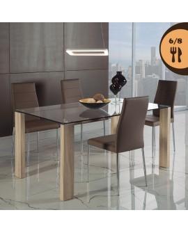 Table repas moderne THARA2 plateau verre 150 cm sur 4 pieds décor chêne clair