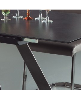 table repas extensible 160 cm plateau c ramique pieds chrome. Black Bedroom Furniture Sets. Home Design Ideas
