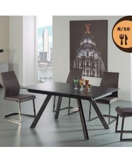 Table repas extensible KELLY plateau verre recouvert de céramique pieds chrome