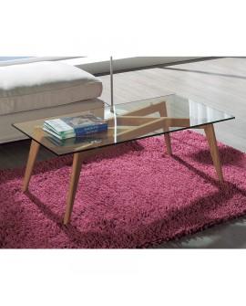 Table de salon moderne piétement frêne plateau verre trempé JULIA