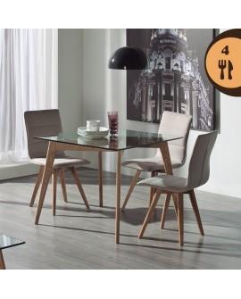 Table carrée de salle à manger moderne frêne naturel  plateau verre trempé JULIA2
