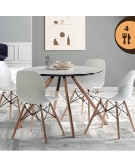 Table ronde de salle à manger LILLE plateau blanc et noir piétement bois et métal
