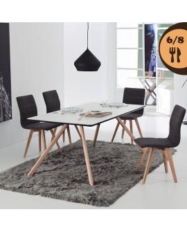Table de salle à manger LILLE2 plateau blanc et noir piétement bois et métal