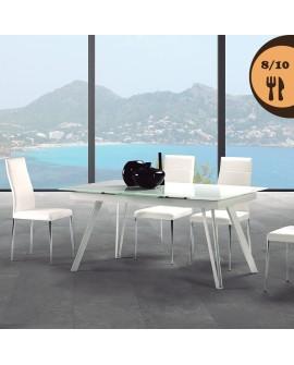 Table de salle à manger plateau verre trempé blanchi piétement acier laqué
