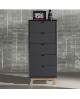 chiffonnier scandinave 5 tiroirs laque grise pied teint ch ne. Black Bedroom Furniture Sets. Home Design Ideas