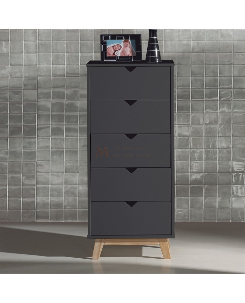 chiffonnier scandinave 5 tiroirs laque grise pied teint ch ne. Black Bedroom Furniture Sets. Home Design Ideas