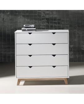 Commode moderne GINA piétement pin teinté chêne, corps laqué blanc 4 tiroirs