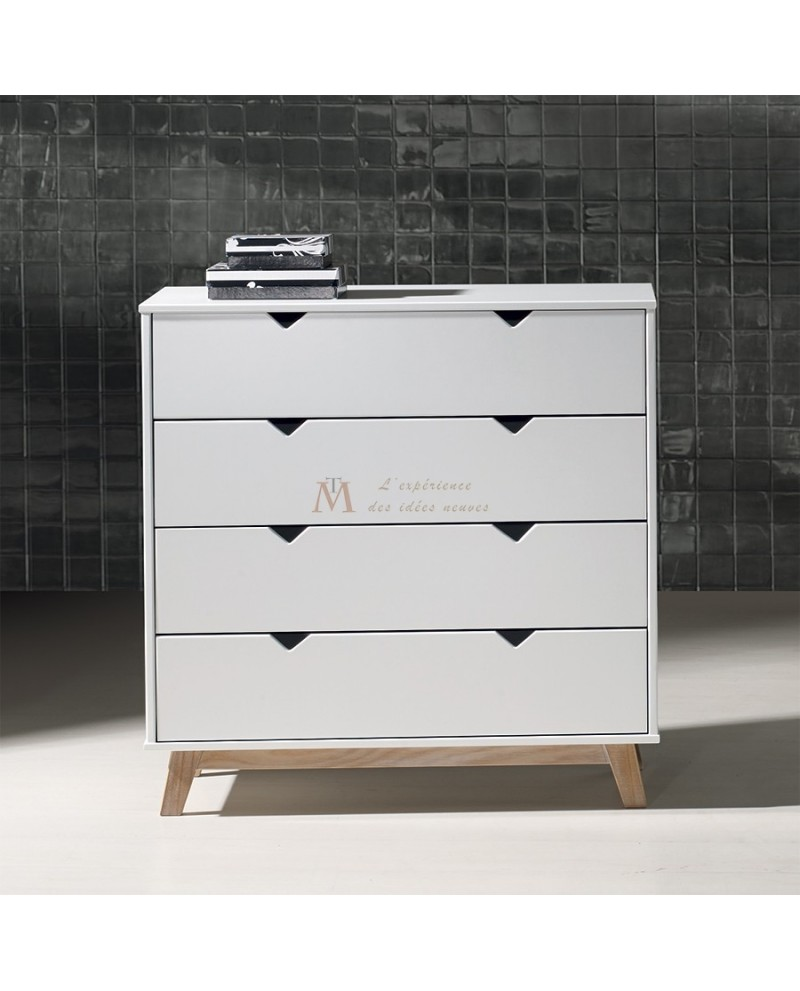 commode 4 tiroirs scandinave laque blanche pied teint ch ne. Black Bedroom Furniture Sets. Home Design Ideas