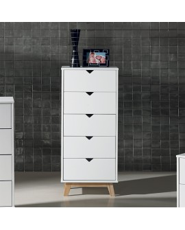 Chiffonnier moderne de style scandinave GINA piétement pin, corps laqué blanc 5 tiroirs