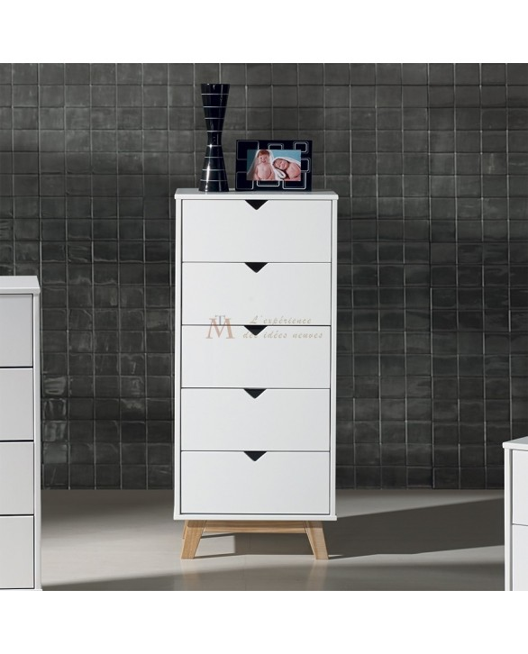 chiffonnier scandinave 5 tiroirs laque blanche pied teint ch ne. Black Bedroom Furniture Sets. Home Design Ideas