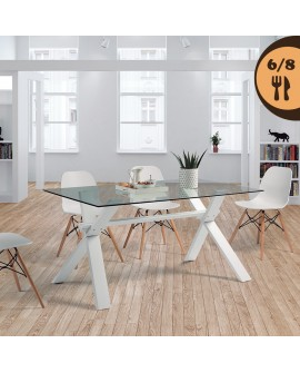 Table de salle à manger moderne SAPHIR plateau verre 150 cm pieds laqué blanc