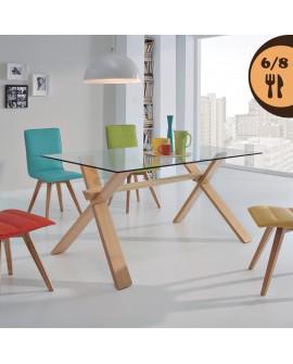 Table de salle à manger moderne SAPHIR2 plateau verre 150 cm pied hêtre massif teinté chêne