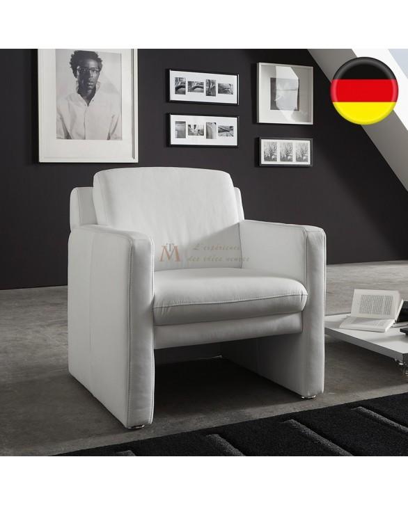 GRAND CONFORT Fauteuil club confort cuir vachette blanc