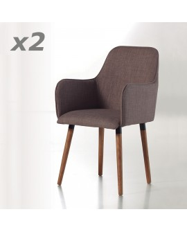 Fauteuil moderne de style scandinave CAPRI assise tissu gris pieds frêne