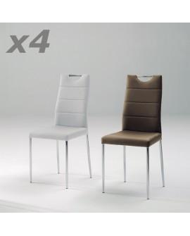 Lot de 4 chaises repas modernes assise et dossier cuir blanc ou cappuccino ISCHIA