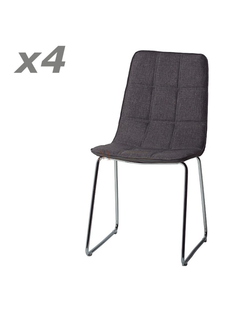 Lot de 4 chaises repas confort assise tissu pied m tal chrom for Chaise quadrillage