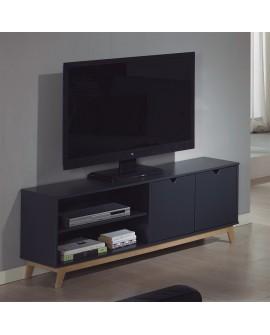 Meuble télévision GINA de style scandinave laque gris anthracite et chêne