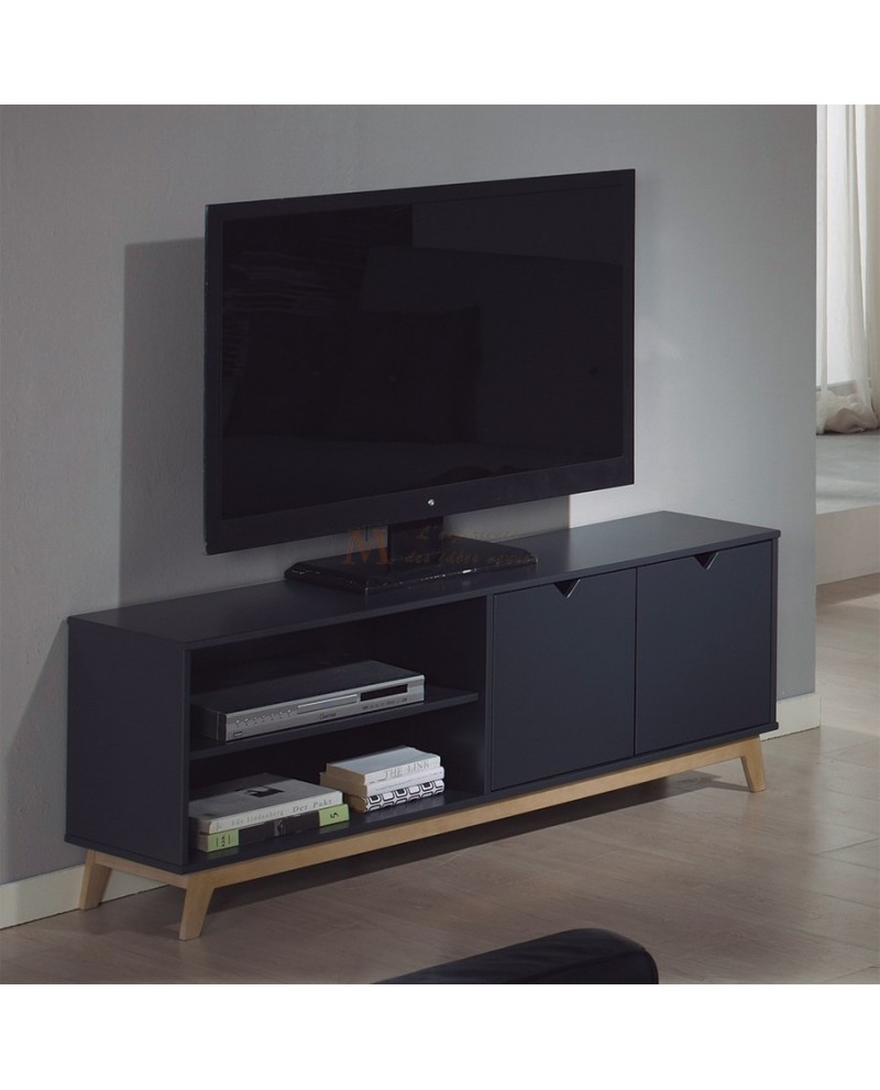 Meuble Tv Anthracite - Meuble T L Vision Scandinave Ch Ne Et Laque Blanche Ou Grise[mjhdah]http://www.matelpro.com/media/catalog/product/cache/1/image/9df78eab33525d08d6e5fb8d27136e95/m/e/meuble-tv-contemporain-160-cm-coloris-ch_ne-gris-anthracite-cobra.jpg